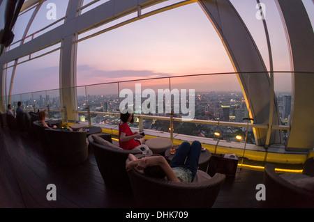 Red Sky Rooftop Bar at Centara Grands, Bangkok, Thailand - Stock Photo