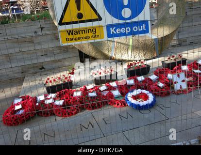 War memorial on Islington Green, London closed off for repairs - Stock Photo
