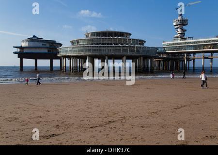 Europe, Netherlands, Den Haag, Scheveningen, Pier - Stock Photo