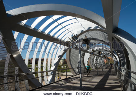 Arganzuela footbridge crossing the Manzanares river in Madrid Rio Park, Madrid, Spain - Stock Photo