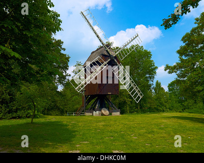 Post mill in the open-air museum, Stade, Germany - Stock Photo