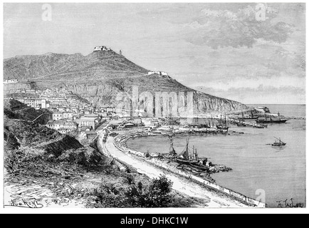 1888 Oran view taken from the marina - Stock Photo