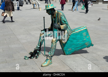 Living statue street performer in Puerta del Sol, Madrid, Spain - Stock Photo
