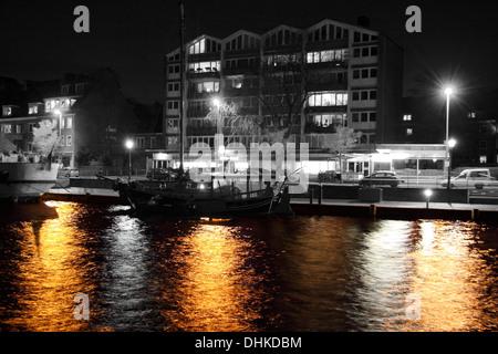 Age inland port at night - Stock Photo