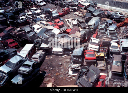 Aerial view of automobile scrapyard in Willets Point in Flushing, Queens, New York on July 18, 1999. - Stock Photo