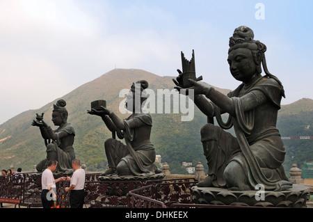 Sculptures at Po Lin Monastery, Lantau Island, Hongkong, China, Asien - Stock Photo