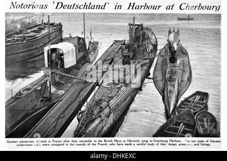 Notorious 'Deutschland in Harbour at Cherbourg German submarines, allotted to France after their surrender to the - Stock Photo