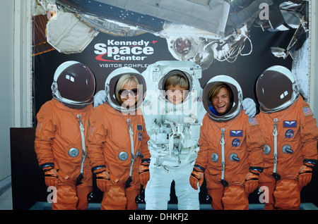 Photo wall with astronauts, John F. Kennedy Space Center, Cape Canaveral, Florida, USA - Stock Photo