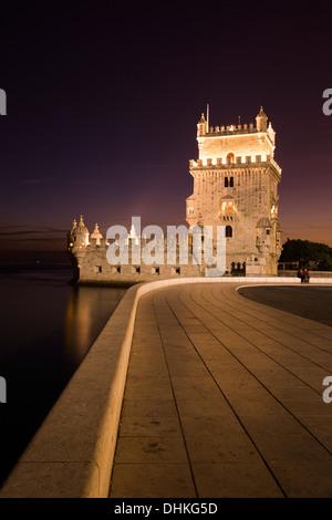 Torre de Belem tower at dusk, Lisbon, Lisboa, Portugal - Stock Photo