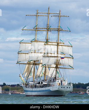 STS Mir is a three-masted, full rigged training ship, based in St. Petersburg, Russia. Here she departs from Helsinki. - Stock Photo