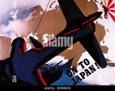 British World War II Poster, 'On to Japan!', 1945 - Stock Photo