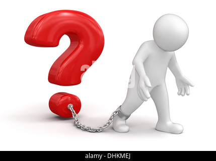 Man and question (clipping path included) - Stock Photo