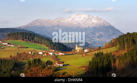 aramaio valley with some villages surrounding mountains in Basque Country - Stock Photo