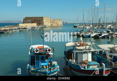 View on the old Venetian harbor in Heraklion and The Venetian fortress of Rocca al Mare (1523–1540), Crete, Greece. - Stock Photo