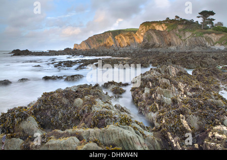 Sunset on the rocks at Lee Bay, North Devon, England at low tide showing the jagged rocks under the sea. - Stock Photo