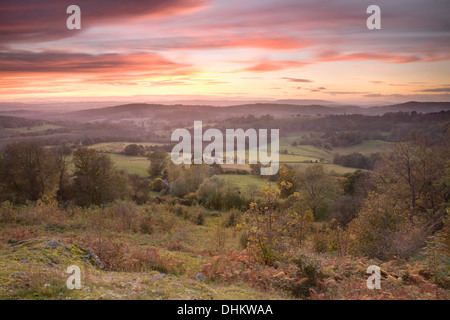This photograph was taken from Midsummer Hill on the Malvern Hills, Herefordshire, at sunset casting strong yellows - Stock Photo