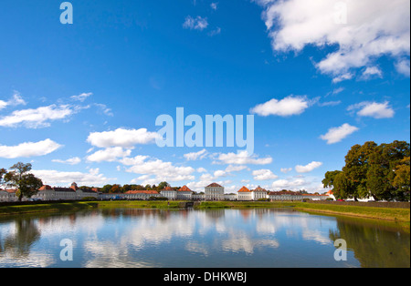 Wide angle panoramic view of Nymphenburg Castle near Munich, summer residence of the rulers of Bavaria since 1675. - Stock Photo