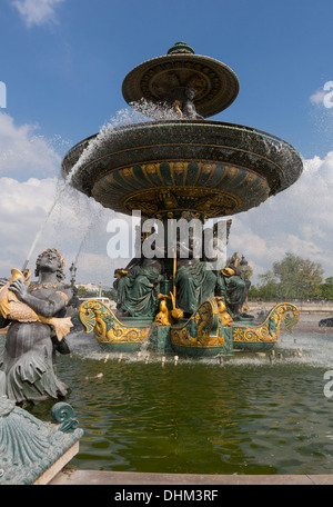 Fountain of River Commerce and Navigation on the Champs Elysees in Paris, France. - Stock Photo