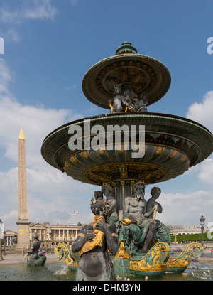 Fountain of River Commerce and Navigation with obelisk on the Champs Elysees in Paris, France. - Stock Photo
