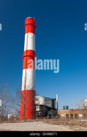 Red-white factory chimney - Stock Photo