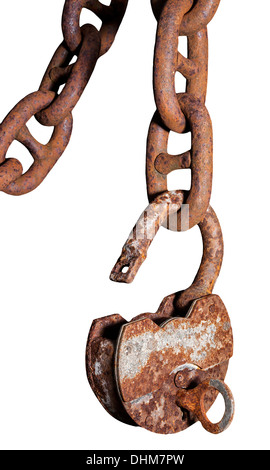 Big old rusty metal open padlock with a key hanging on a bold chain - Stock Photo