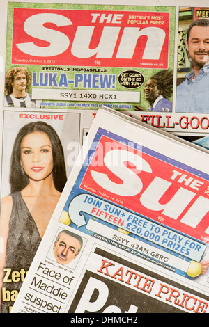 The Sun: UK national tabloid press daily newspaper headline front pages - Stock Photo