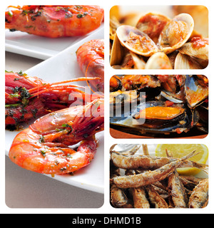 collage of different spanish seafood tapas, such as boquerones fritos, gambas al ajillo or mejillones a la marinera - Stock Photo