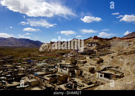 View of the Kumbum chorten (Stupa) & Palcho Monastery, Gyantse, Tibet, China, Asia - Stock Photo