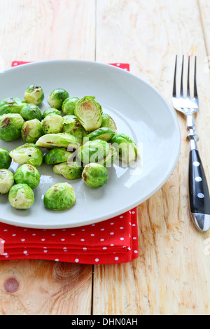 side dish of fried brussel sprouts, food - Stock Photo