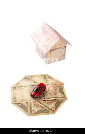 Concept depicting Home Loan & Car Loan (Indian context) - Stock Photo