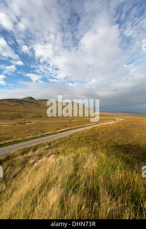 Inchkinloch, Scotland. Picturesque view of the single track A836 Parliamentary road from Bonar Bridge to Tongue. - Stock Photo