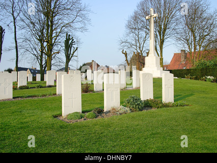 Ramparts World War One Commonwealth War Cemetery in Ypres, Belgium - Stock Photo
