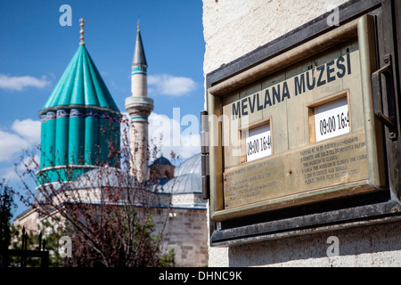 View of the domes and minarets of the Mevlana Museum, historic centre of the  Whirling Dervishes in Konya, Turkey. - Stock Photo