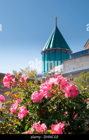 View of roses and minarets at the Mevlana Museum, historic centre of the  Whirling Dervishes in Konya, Turkey. - Stock Photo