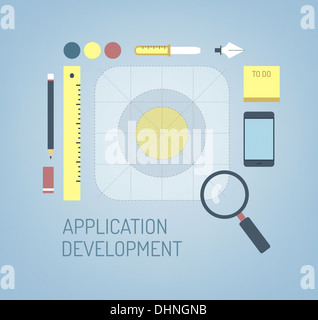 Modern illustration concept of search, creation and development process a new application icon for mobile interface - Stock Photo
