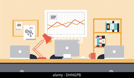 Flat illustration of stylish modern workspace interior for team collaboration or people co-working space with office - Stock Photo