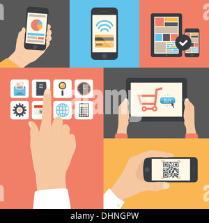 Flat illustration set of touch screen interface, mobile phone scanning qr-code, on-line purchase and e-commerce - Stock Photo