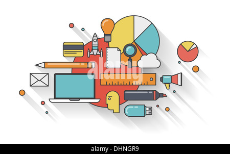 Flat outline illustration concept of modern business planning for development and management everyday routine - Stock Photo
