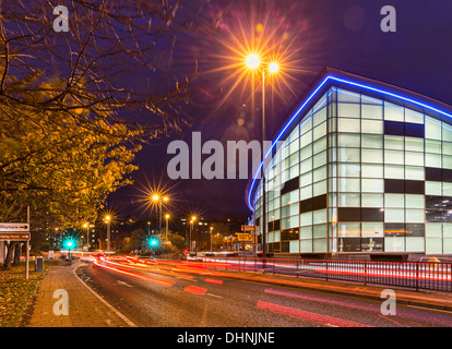Traffic Passes In Front Of The New Olympia Swimming Pools On East Stock Photo Royalty Free