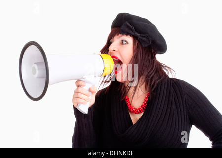 Young Woman with Hat Yelling in Megaphone - Isolated on White - Stock Photo