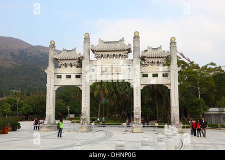 Po Lin Monastery on Lantau Island, Hong Kong - Stock Photo