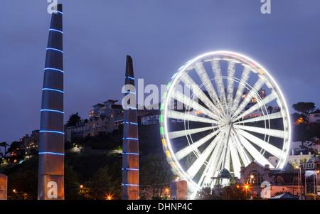 Millenium Bridge and Observation Wheel Torquay Devon England UK Europe - Stock Photo