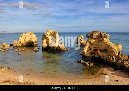 High view of Arrifes Beach in Albufeira, Algarve, Portugal - Stock Photo