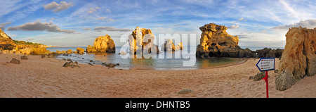 Panorama of Arrifes Beach in Albufeira, Algarve, Portugal - Stock Photo