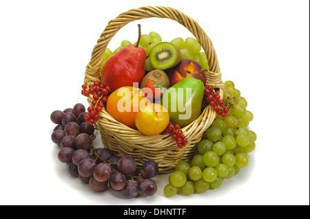 basket with fresh mixed fruits - Stock Photo