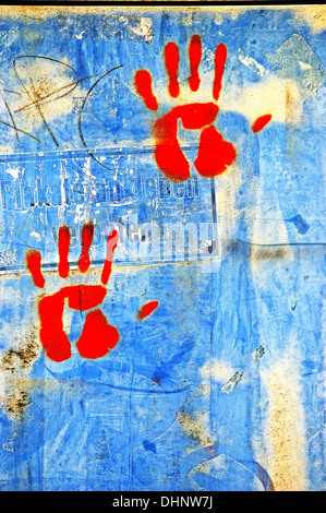 hands red - Stock Photo