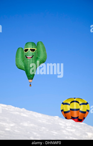 Cactus and traditional hot air balloon over dunes, White Sands Hot Air Balloon Invitational, White Sands National - Stock Photo