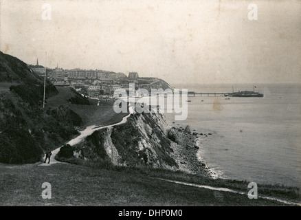Antique photograph, circa 1890, footpath on the cliffs looking at Ventnor, Isle of Wight, England. - Stock Photo