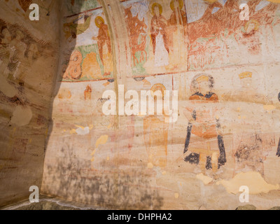 Caves with frescos in David Gareja, a rock-hewn Georgian Orthodox monastery complex located in the Kakheti region, - Stock Photo