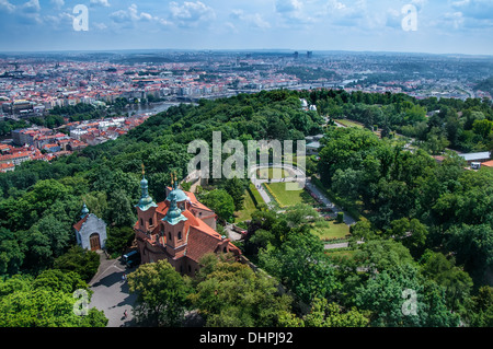 View on Prague cityscape and church in recreation park - Stock Photo